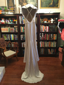 Paloma Blanca 'Paloma Satin' size 6 used wedding dress back view on hanger