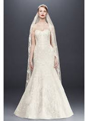 Oleg Cassini 'CWG594' size 4 used wedding dress front view on model