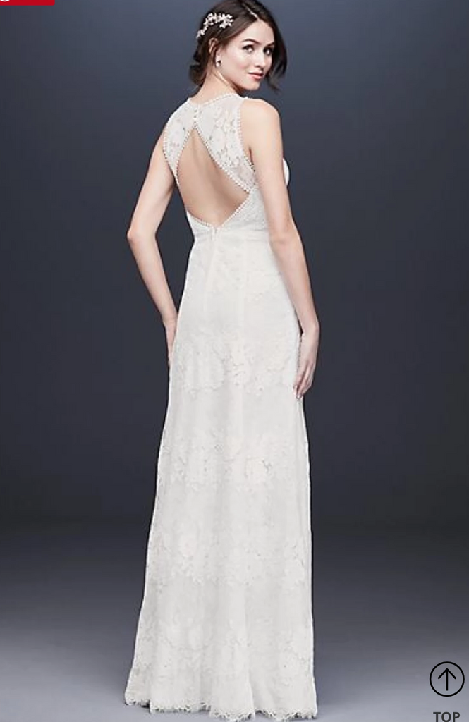 Galina 'WG3953 Illusion' size 14 new wedding dress back view on model