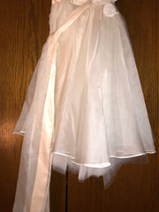 Exquisite Brides 'Dusty Pink and Ivory Layered Lace Appliquéd Flower Girl Dress-112' view of body of dress