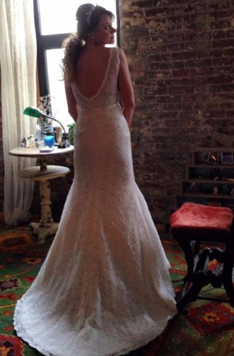 Custom 'Madeline' size 6 used wedding dress back view on bride