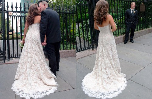 Sareh Nouri 'Remedios' size 2 used wedding dress back views on bride