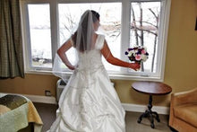 Load image into Gallery viewer, Alfred Angelo 'Sapphire Collection 758' size 12 used wedding dress back view on bride