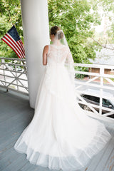 Allure Bridals '2716' size 12 used wedding dress back view on bride
