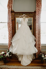 Hayley Paige 'Behati' size 0 used wedding dress front view on hanger