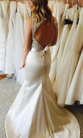 Tara Keely '2455' size 8 used wedding dress back view on model