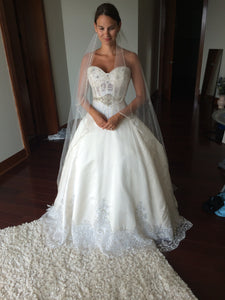 Eve of Milady '1456' size 4 used wedding dress front view on bride