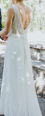 Watters 'Willowby- Brighton' size 8 used wedding dress back view on bride