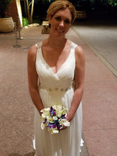 Load image into Gallery viewer,  'Beaded Chiffon Keyhole ' wedding dress size-14 PREOWNED