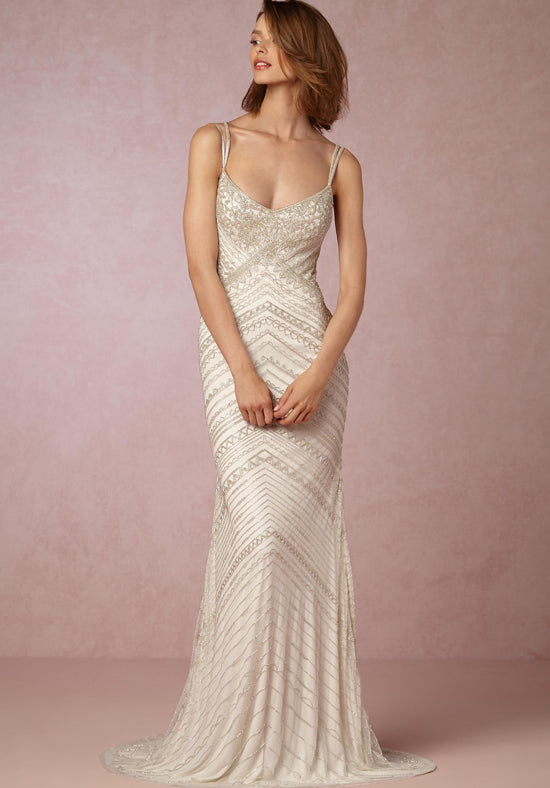 BHLDN 'Theia' size 6 new wedding dress front view on model