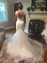 Load image into Gallery viewer, Galina Signature 'Illusion Deep Plunge' size 8 new wedding dress back view on bride