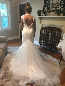 Galina Signature 'Illusion Deep Plunge' size 8 new wedding dress back view on bride