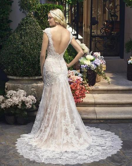Casablanca '2215' size 10 used wedding dress back view on model