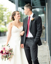 Load image into Gallery viewer, Amsale 'Rowan' size 12 used wedding dress front view on bride