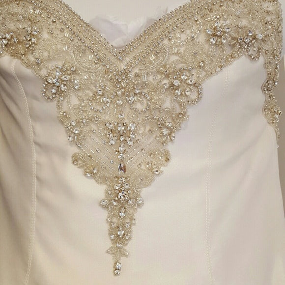 Victor Harper Couture '206' size 6 used wedding dress front view on hanger