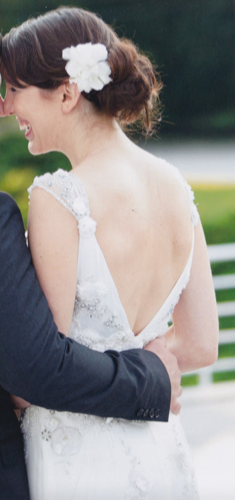 Claire Pettibone 'Crescent' size 6 used wedding dress back view on bride
