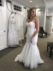 David's Bridal 'Metallic-Beaded Lace Trumpet'