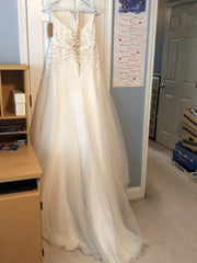 Cosmobella '7693' size 14 sample wedding dress back view on hanger