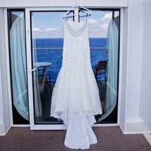 Load image into Gallery viewer, Cosmobella 'Milano' size 8 used wedding dress front view on hanger