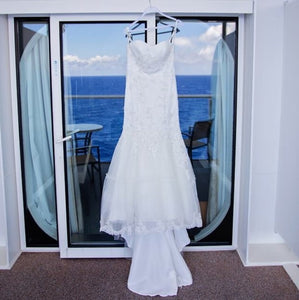 Cosmobella 'Milano' size 8 used wedding dress front view on hanger