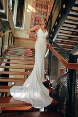Eddy K. '1132' size 8 used wedding dress front view on bride