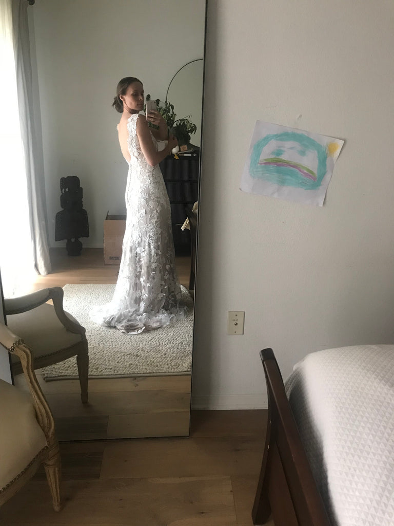 BHLDN 'Liesel' size 4 used wedding dress back view on bride