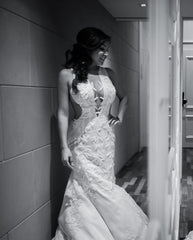 Ines Di Santo 'Vision' size 4 used wedding dress front view on bride