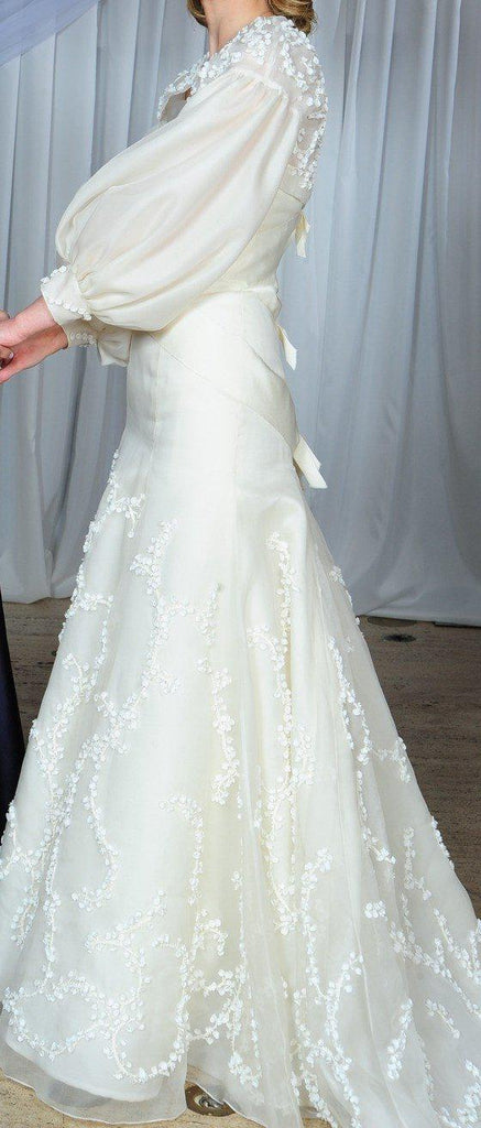 Vera Wang Devon Silk Organza Gown with Bolero - Vera Wang - Nearly Newlywed Bridal Boutique - 3
