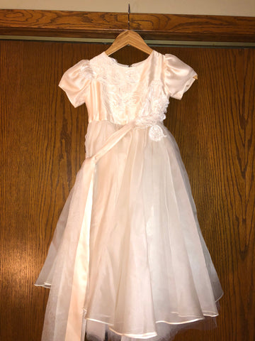 Dusty Pink and Ivory 8 Layered Lace Appliquéd Flower Girl Dress Style 112