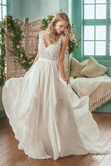 Jasmine 'F201007' size 6 sample wedding dress front view on model