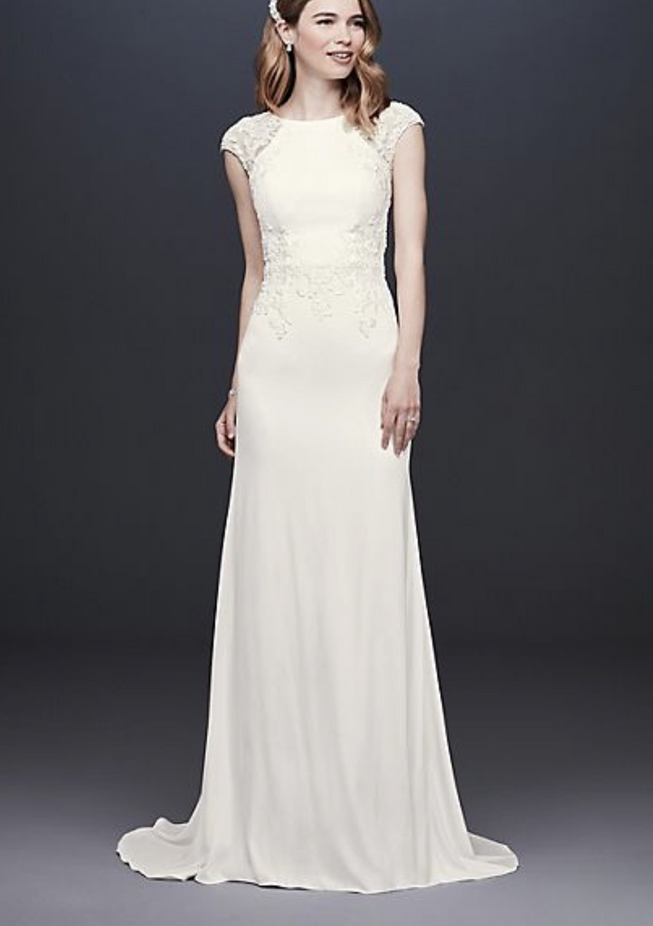 David's Bridal 'Cap Sleeve Crepe Sheath' size 12 new wedding dress front view on model