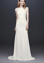 Load image into Gallery viewer, David's Bridal 'Cap Sleeve Crepe Sheath' size 12 new wedding dress front view on model