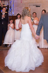 Moonlight 'J6434' size 6 used wedding dress back view on bride