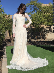 Mia Solano 'Lizbeth' size 4 new wedding dress front view on bride