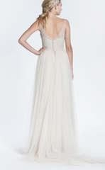 Paolo Sebastian 'Mia' size 2 used wedding dress back view on model
