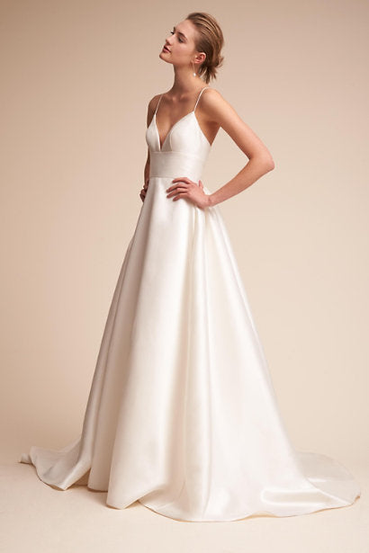 BHLDN 'Opaline Ballgown' size 0 used wedding dress side view on model