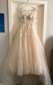 Pronovias 'Ofelia' size 6 used wedding dress front view on hanger
