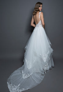 Pnina Tornai 'Love' size 12 new wedding dress back view on model