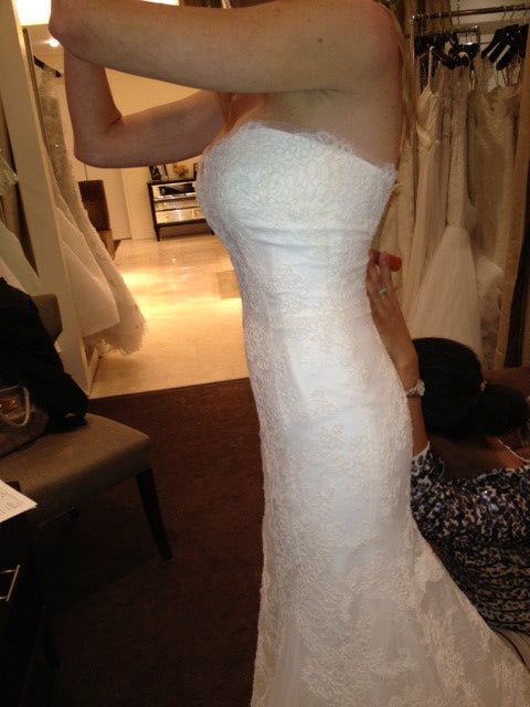 Monique Lhuillier Trumpet Lace Emma Wedding Dress - Monique Lhuillier - Nearly Newlywed Bridal Boutique - 6