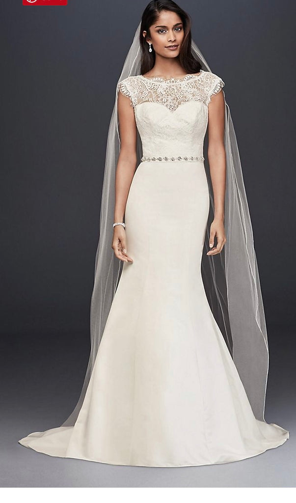 David's Bridal  'Illusion Lace' size 12 new wedding dress front view on model