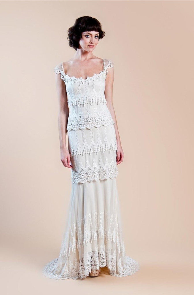 Claire Pettibone 'Kristene' size 12 used wedding dress front view on model