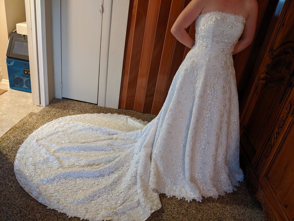 David's Bridal 'Michaelangelo' wedding dress size-10 PREOWNED