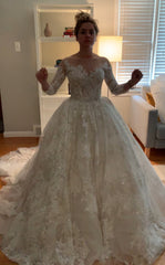Gemy Maalouf 'Lace and Tulle Ball Gown' size 2 new wedding dress front view on bride