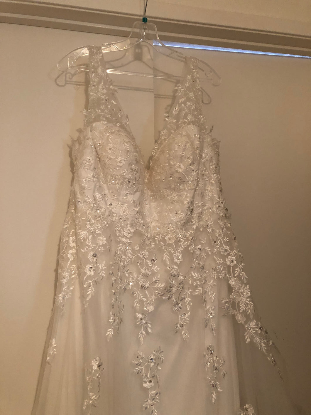 Simply Bridal 'Off the Shoulder' size 16 new wedding dress front view on hanger