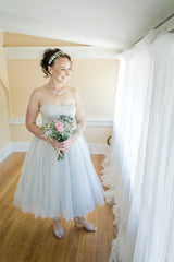 David's Bridal 'Tea Length' size 10 used wedding dress front view on bride