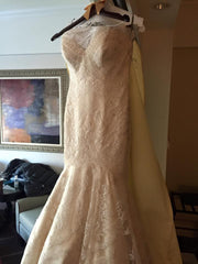 Matthew Christopher 'Monroe' size 8 used wedding dress front view on hanger