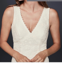 Load image into Gallery viewer, Galina 'Flower Lace V-Neck' size 8 new wedding dress front view close up