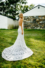 Rue De Seine 'Cosmic Coralee' size 10 used wedding dress side view on bride
