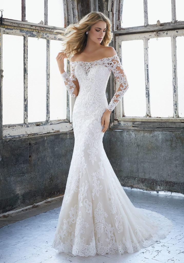Mori Lee 'Karlee  '8207' size 10 new wedding dress front view on model
