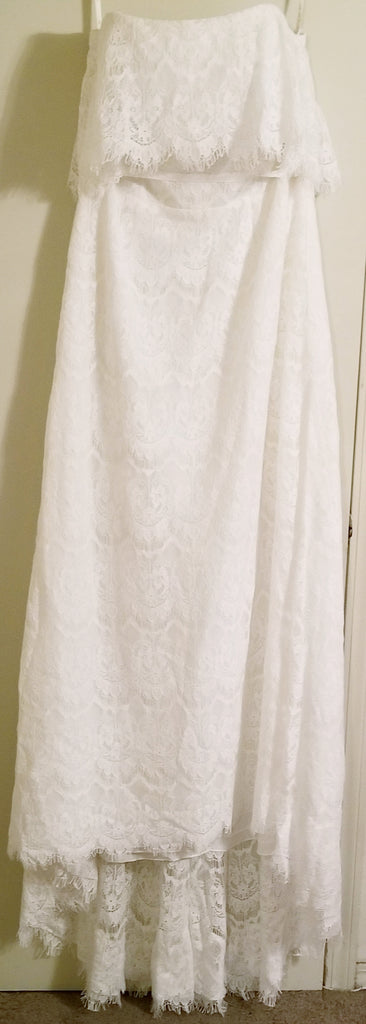 Galina 'Off the Shoulder' size 14 new wedding dress front view on hanger